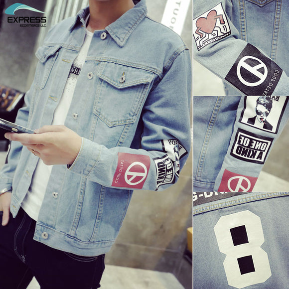 2018 Men's Denim Jacket high quality fashion Jeans Jackets Slim fit casual streetwear