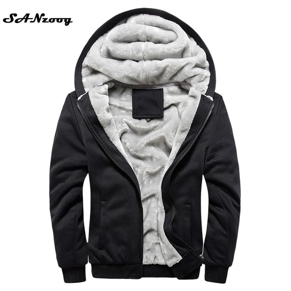 Hoodies Sweatshirt Men 2018 New Autumn Winter Warm Thick Solid Casual Brand