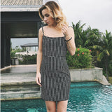 12 Styles Sexy Grey Sleeveless Sheath Plaid Dress 2018 Women Summer Spring Spaghetti