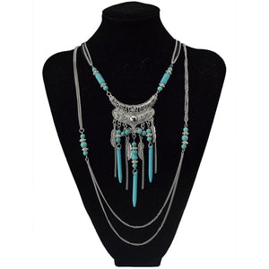 2018 New Fashion Boho Multilayer Silver Fringe Chain Necklace Vintage Rivet Beads