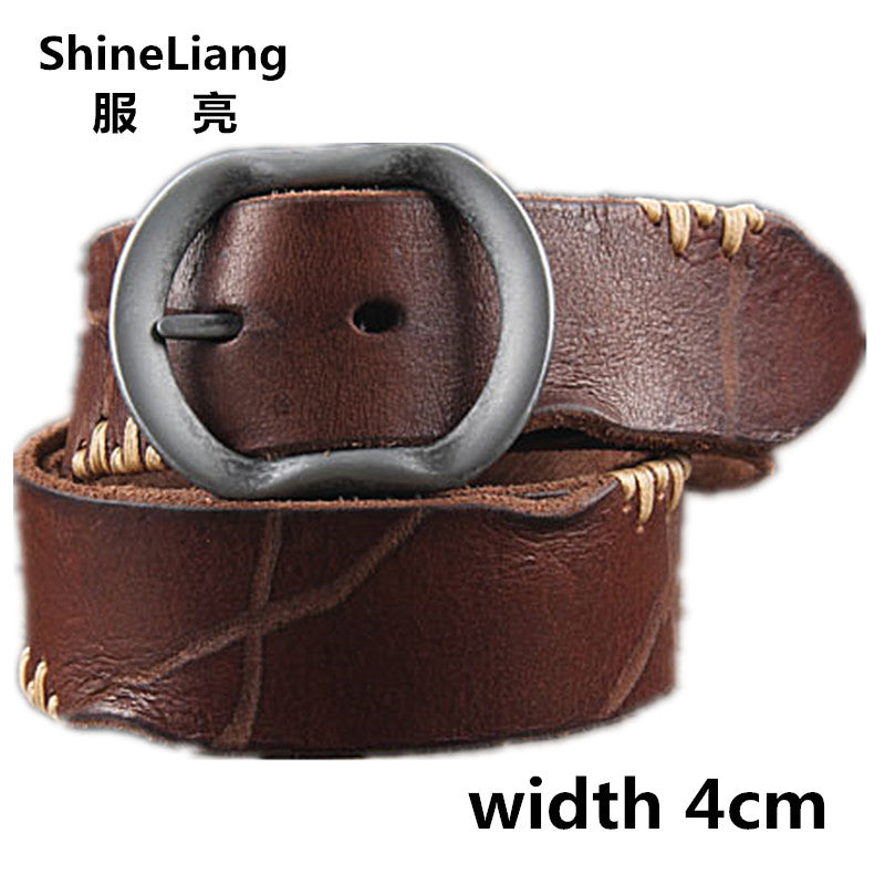 4a6efc06dda7 Hot Cowhide Genuine Leather Belts for men brand Strap male pin buckle fancy  vintage ...