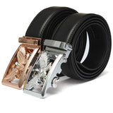 Eagle Buckle Men's Business PU Leather Belt, Male Automatic Buckle Button Strap Men