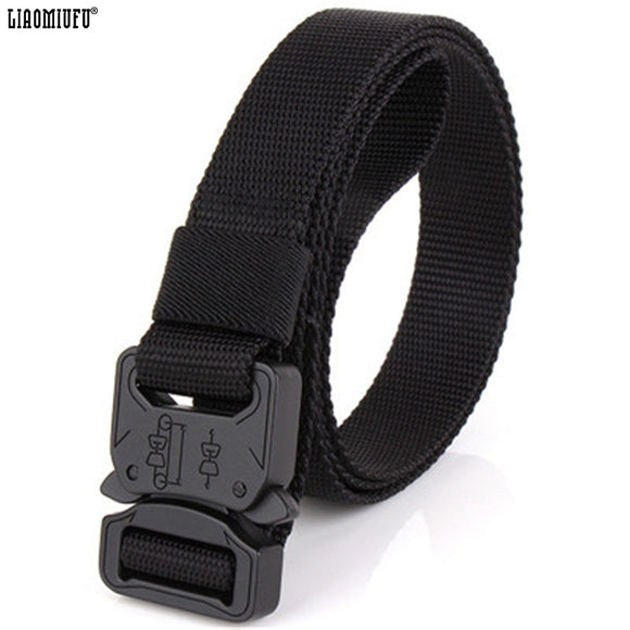 New Men's Canvas Belt Plus Hard Tactical Belt Military Fan Style Outdoor Sports Belt Leisure Nylon Belt For Male Belts
