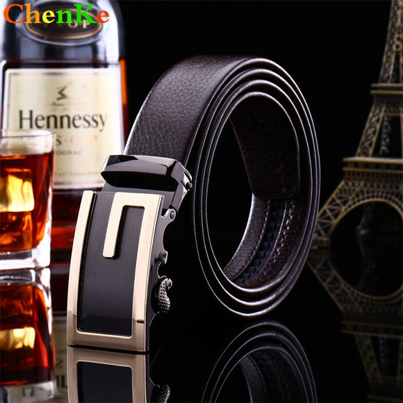 ChenKe Man Belts Brand with Fashion Alloy Automatic Buckle Whit Letter G Genuine