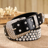 4 Colors Luxury Rhinestone Women's Belt 2017 Leopard Leather Belt Diamond Inlaid