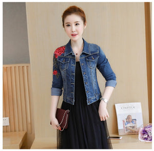 2018 Autumn New Jean Jacket Women Blue 3D Rose Flower Embroidered Denim Outerwear