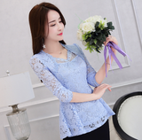 2018 Spring New Women's Hollow lace shirt female long sleeve Ruffles Blouse Plus size