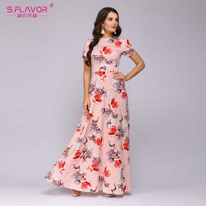 S.FLAVOR Women Summer Long Dress Short Sleeve Floral Print Boho Dress Elegant Party Dress Slim Sundress vestido de festa