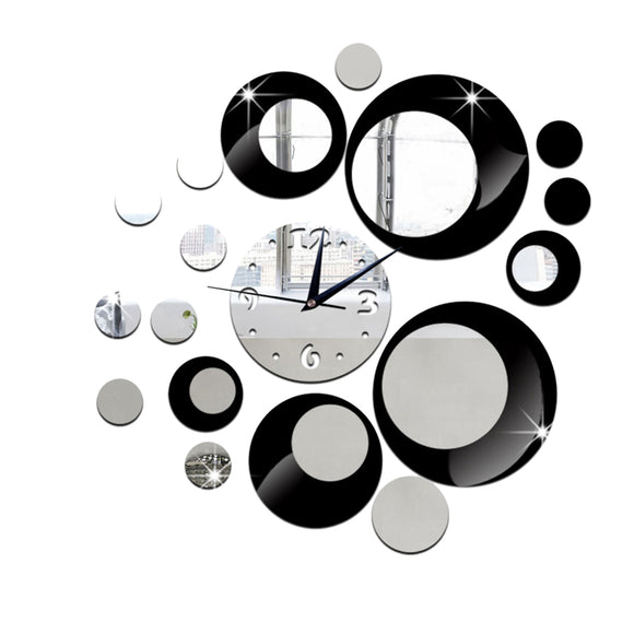 DIY 3D Acrylic Wall Clock Mirror Stickers for Home Living Room Office Decor (Black)