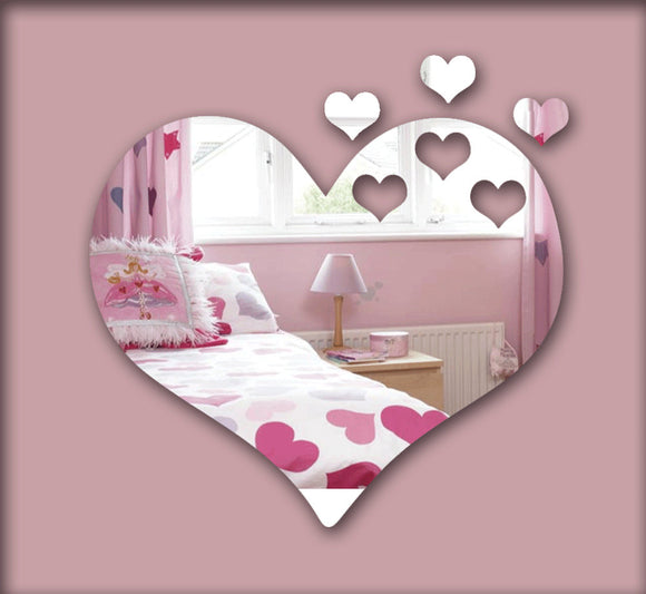 Hearts  3D mirror wall sticker ,  decorative mirror frame sticker for bedroom Nersury living room deco