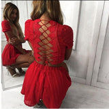 2018 spring summer Sexy Women Lace Crochet rompers womens jumpsuit Solid color