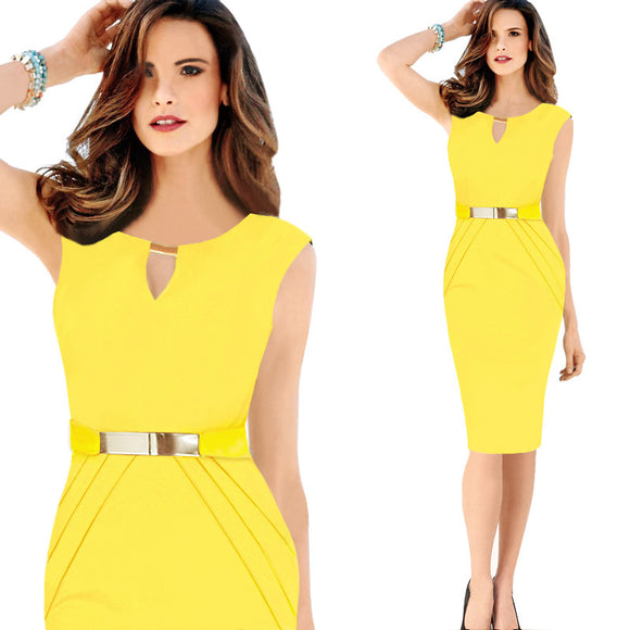 2018 Summer Dress For Women Elegant Office Dresses Yellow Red Blue Plus Size Pencil