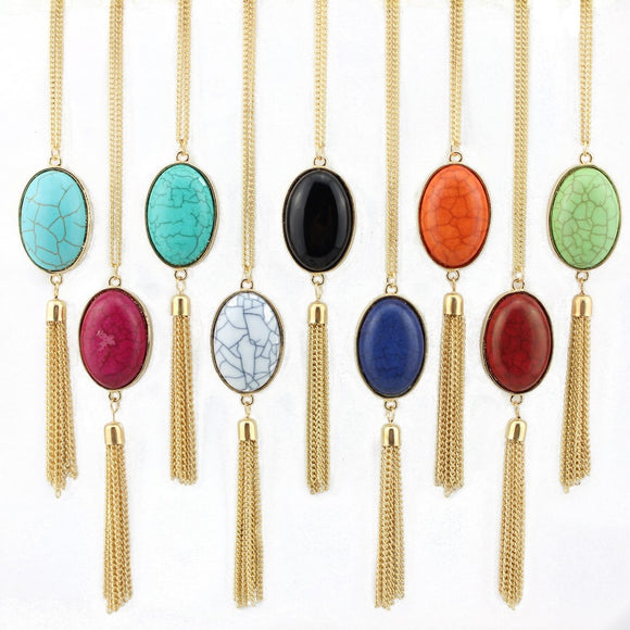 2018 Oval Natural Stone Necklace Gold Silver Chain Tassel Necklace Fashion Female Boho