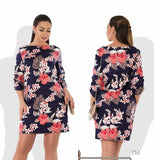 2018 Elegant Party Dress Plus Size Women Clothing Half Sleeve Straight Floral Printd Dress