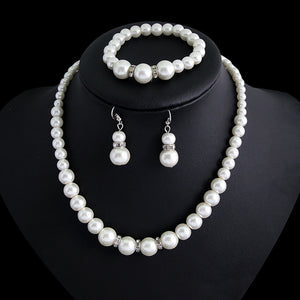 2018 Valentine's Elegant Fashion Pearl Jewelry Sets Women Crystal Charm Necklace Ring
