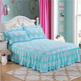 100% Cotton Pastoral Style Purple flower Bedding Bed Skirt Bed Cover Bedspread Pastoral
