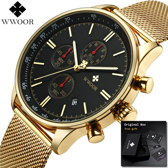 2018  Relogio Masculino WWOOR Mens Watches Brand Luxury Men Military Sport Chronograph