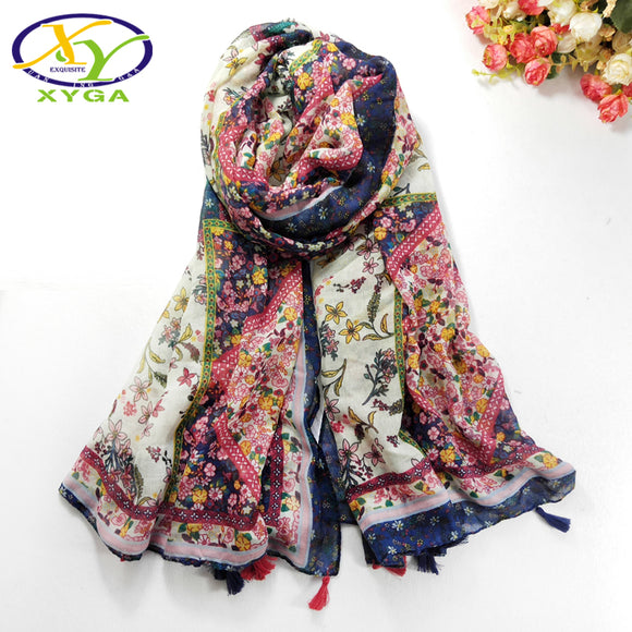 1PC 2018 Spring New Acrylic Cotton Scarves Soft Women Long Tassels Scarf Thin Summer
