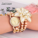 2018 New Arrival Fashion Flowers Pearl Bracelet Watch & Creative Ladies watch & Bracelets