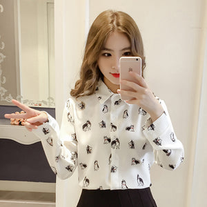 2018 New Spring Women Shirts Print Full Sleeve Korea\'s Puppy Blouse Shirt White Blue Yellow 3218