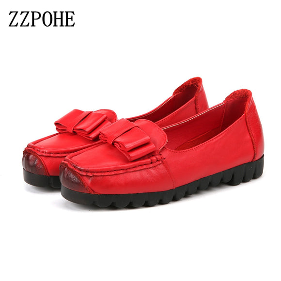 ZZPOHE Autumn New Ladies Leather Comfort Soft Bottom Women's Shoes Bowknot