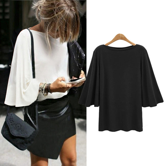 2018 Spring New Big Code Women's Bat Trumpet Sleeves Slash Neck Three Quarter Plus