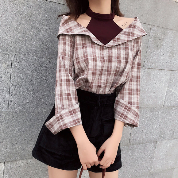2018 Spring Summer Sex Women Shirts Long Sleeve Patchwork Plaid Hang neck Two Piece