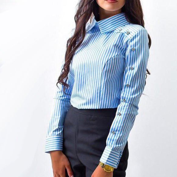 2018 New Spring Fashion Women Striped Button Casual Blouses Long Sleeve Turn Down