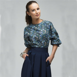 2018 Spring Bohemia New Fashion Women Floral Printed Blouses Casual Half-sleeve