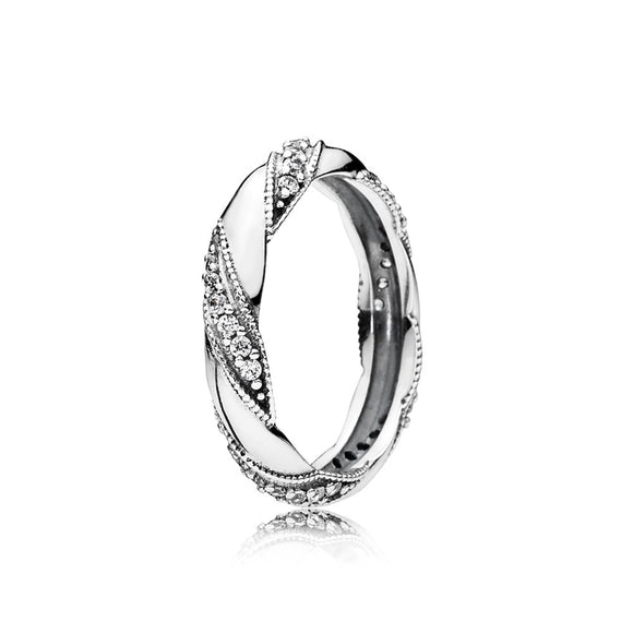 Authentic 100% 925 Sterling Silver Ring Pave Crystal Ribbon of The Love Rings for Women