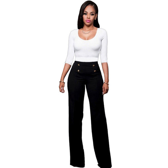 Women High Waisted loose wide leg long full pants Female girls Fashion Pants Trousers