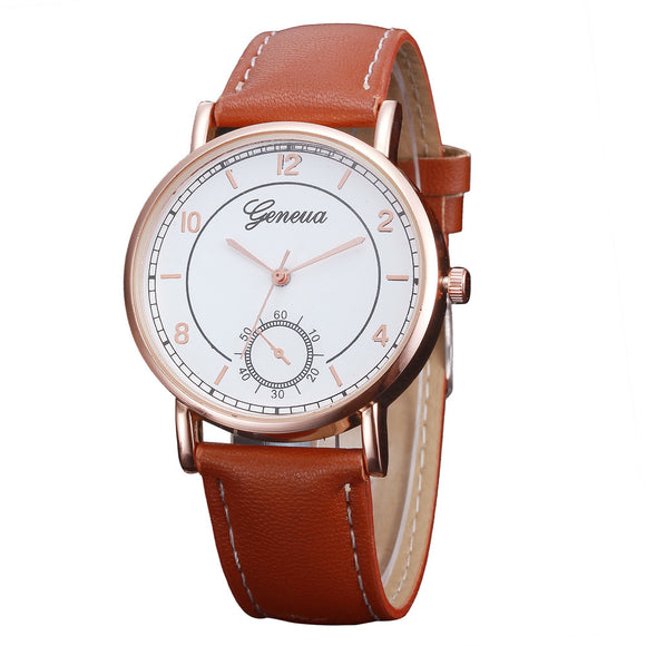 2018 Woman Mens Retro Design Leather Band Analog Alloy Quartz Wrist Watch Relogio