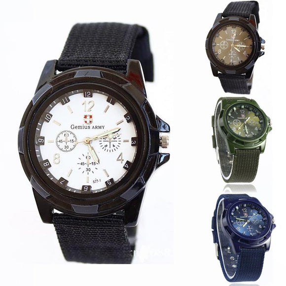 2018 HOT Gemius Army Racing Force Military Mens Officer Fabric Band Watch Mens Watches