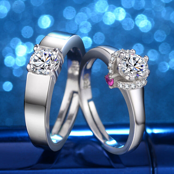 2 piece Fashion ring Princess Crystal Rings For Women men couple lover Wedding bands