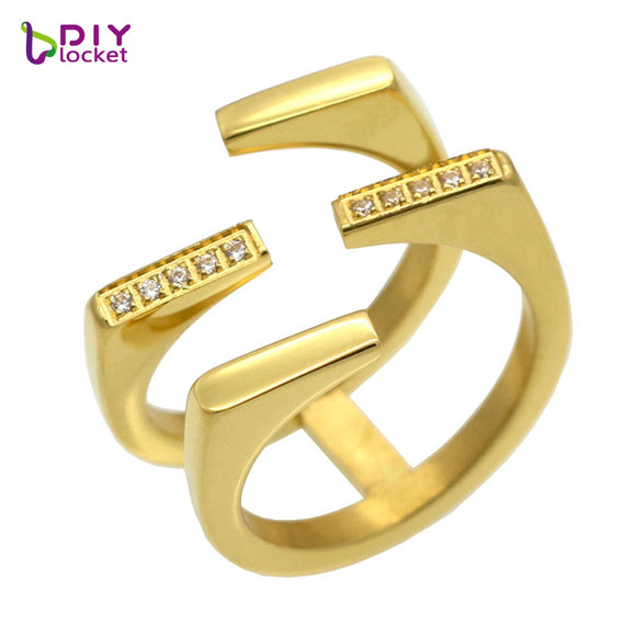 Hot sale Fashion Women Ring Jewelry Unique Geometric Design CZ Style Female Stainless Steel Paved Austrian Crystal finger Ring