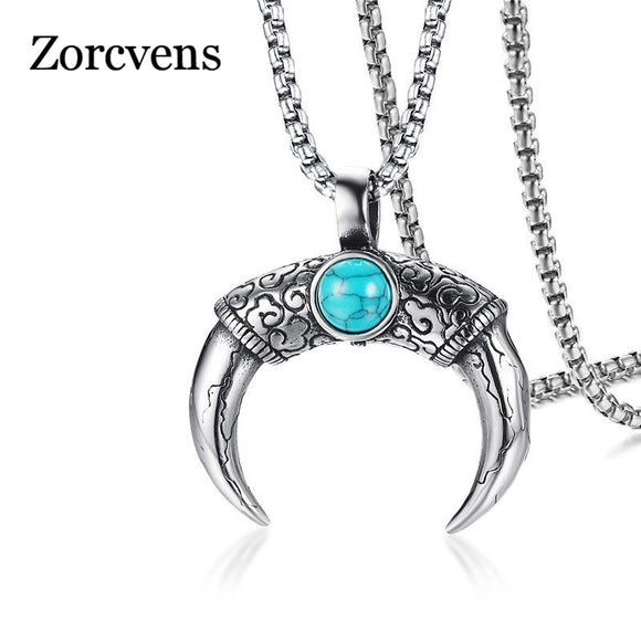 ZORCVENS Natural Stone Clouds Texture Stainless Steel Male Punk Jewelry Double Sides