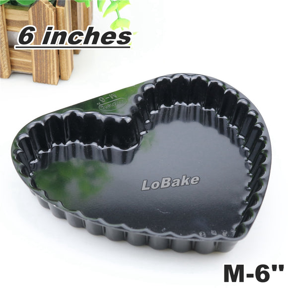 6 inches nonstick heart shape pie pan pizza stone pancake dish cheese cake flan pudding mold tin for DIY bakery accessories