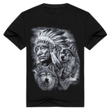 3d wolf t shirt mens Brand 3D Indians wolf Print t shirts Cotton wolves Men t-shirt Casual
