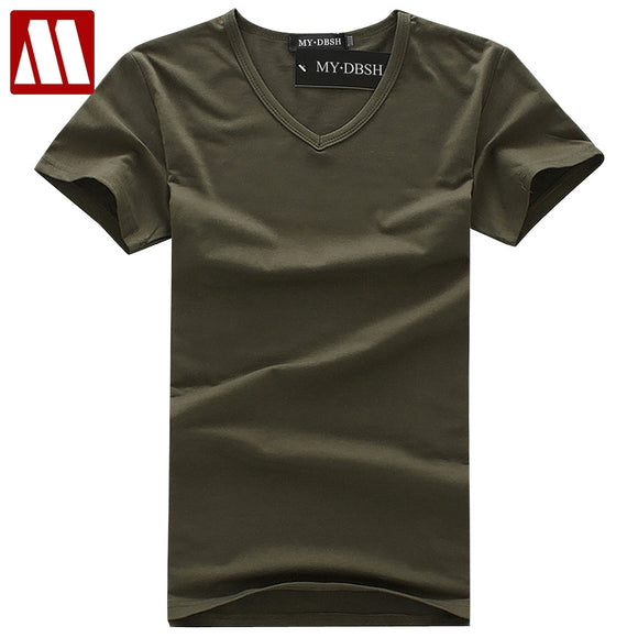 2018 Summer Blank Casual Men's T-shirt Basic Style T-shirt Short Sleeve V-neck Solid