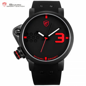 7683692f9 Salmon SHARK Sport Watch Black Red Creative Design Left Crown Men Quartz  Analog 3D Face Clock