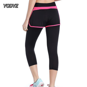 YCDYZ New Women Sport Pants Elastic Gym Fitness High Waist Full Length Workout Running Tights Breathable Quick Dry Yoga Leggings