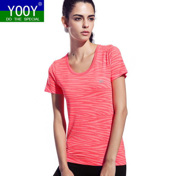 Women Zebra Pattern Shirts Sport Fitness Yoga Short Sleeve T Shirt Ladies Running Loose T-Shirt Quick Dry Tees Tops gym Clothing