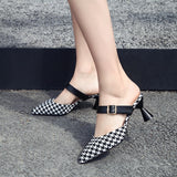 Moxxy Women Sexy High Heel Mules Clogs Black Pointed Toe Platform Mules Ladies Leather Sole Slippers Female Slip On Sandal Shoes
