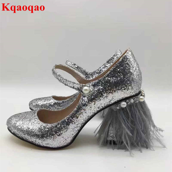 2018 Fur Embellished Pearl Decor Women Pumps Wedding Party Runway Star Stage Shoes
