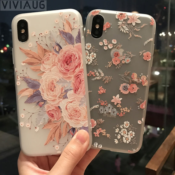 VIVIAUG Flower Patterned Case For iPhone 6 6s 7 Plus Cover Soft Silicone Floral Protect Cover For iPhone 8 Plus X 7 plus  Capa
