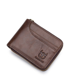 BUllCaptain Genuine Leather Men Wallets Short Coin Purse Small Retro Wallet Cowhide Leather Card Holder Pocket Purse Men Wallets