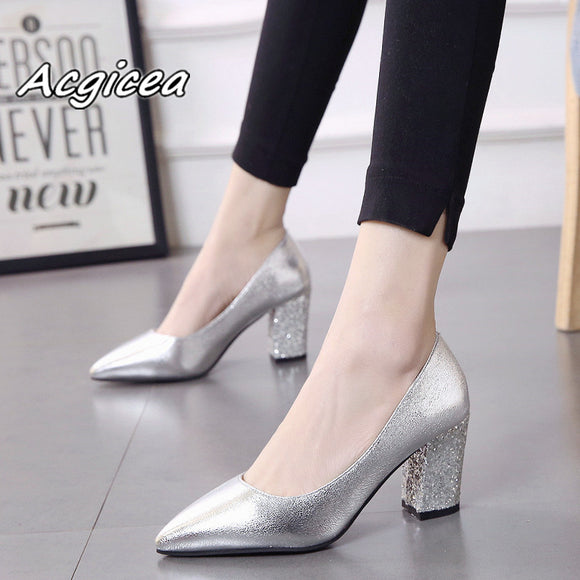 2018 autumn sexy prom wedding shoes female Square heel Pointed Toe Single shoes female
