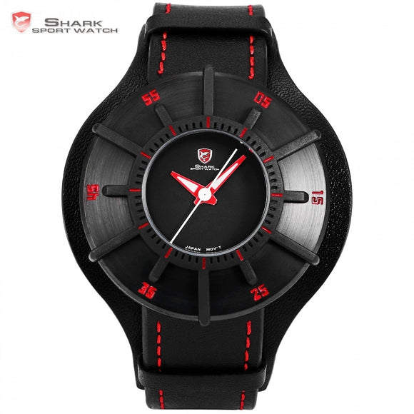 Silky Shark Sport Watch 3D Craft Black Red Top Luxury Brand Watches Men Genuine Leather Strap Band