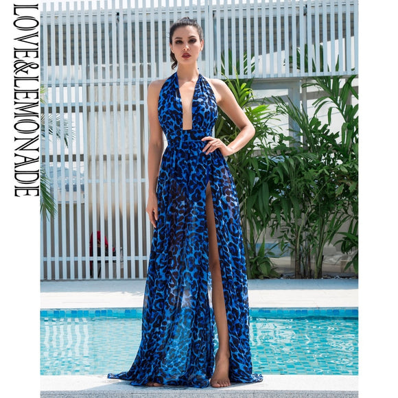 Love&Lemonade Sexy Blue V-Neck Open Back Cut Out Leopard Chiffon Long Dress  LM1408