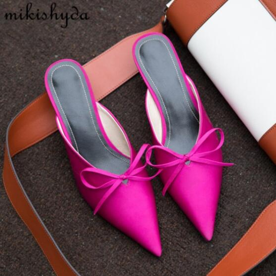 2017 Autumn New Summer Bow Satin Heels Pointy Toe Half Slippers Muller Shoes Women Outside Wear Slippers
